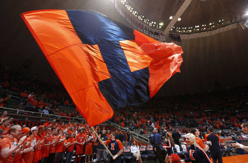 CHAMPAIGN, IL - DECEMBER 11: Illinois Fighting Illini flag flies during the game against the Norfolk State Spartans at Assembly Hall on December 11, 2012 in Champaign, Illinois. Illinois won 64-54. (Photo by Joe Robbins/Getty Images)