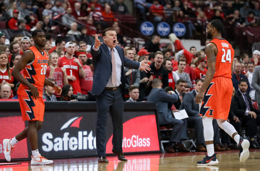 COLUMBUS, OH - FEBRUARY 04: Illinois Fighting Illini head coach Brad Underwood reacts to a play in a game between the Ohio State Buckeyes and the Illinois Fighting Illini on February 04, 2018 at Value City Arena in Columbus, OH. (Photo by Adam Lacy/Icon Sportswire via Getty Images)