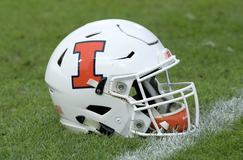 WEST LAFAYETTE, IN - NOVEMBER 04: An Illinois football helmet sits on the field before the start of the Big Ten Conference game between the Illinois Fighting Illini and the Purdue Boilermakers on November 4, 2017, at Ross-Ade Stadium in West Lafayette, Indiana. (Photo by Michael Allio/Icon Sportswire via Getty Images)