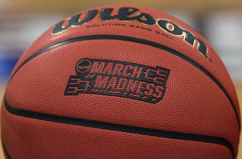 DETROIT, MI - MARCH 15: A detail view of the March Madness logo that is embossed into the official tournament basketballs is seen during an open public practice during the practice day before the first round of the 2018 NCAA Tournament on March 15, 2018 at Little Caesars Arena, in Detroit, Michigan. (Photo by Scott W. Grau/Icon Sportswire via Getty Images)