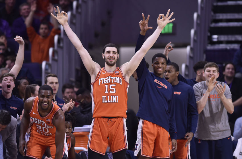 EVANSTON, ILLINOIS - FEBRUARY 27: Giorgi Bezhanishvili #15 and the bench of the Illinois Fighting Illini reacts after scoring in the second half against the Northwestern Wildcats at Welsh-Ryan Arena on February 27, 2020 in Evanston, Illinois. (Photo by Quinn Harris/Getty Images)
