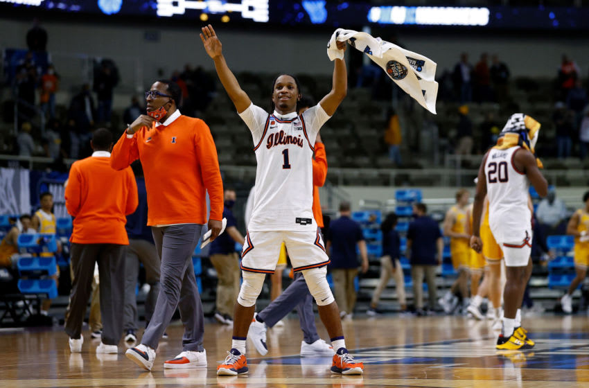 INDIANAPOLIS, INDIANA - MARCH 19: Trent Frazier #1 of the Illinois Fighting Illini celebrates after beating the Drexel Dragons 78-49 in the first round game of the 2021 NCAA Men's Basketball Tournament at Indiana Farmers Coliseum on March 19, 2021 in Indianapolis, Indiana. (Photo by Maddie Meyer/Getty Images)