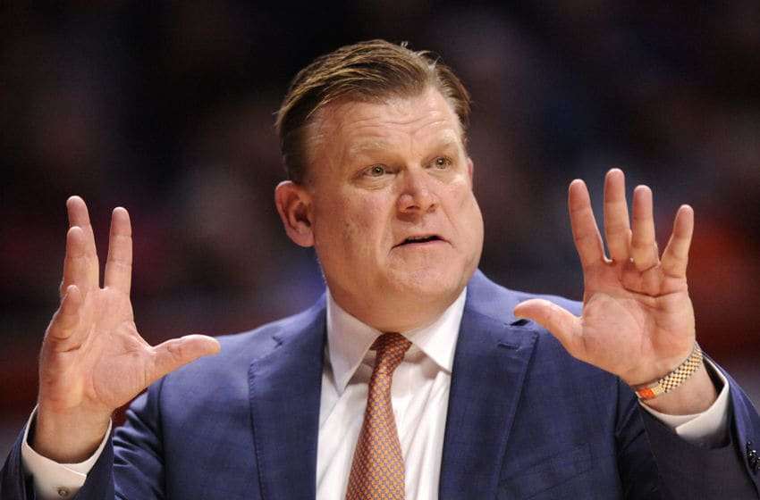 CHAMPAIGN, IL - JANUARY 18: Illinois Fighting Illini head coach Brad Underwood signals to his players during the Big Ten Conference college basketball game between the Northwestern Wildcats and the Illinois Fighting Illini on January 18, 2020, at the State Farm Center in Champaign, Illinois. (Photo by Michael Allio/Icon Sportswire via Getty Images)