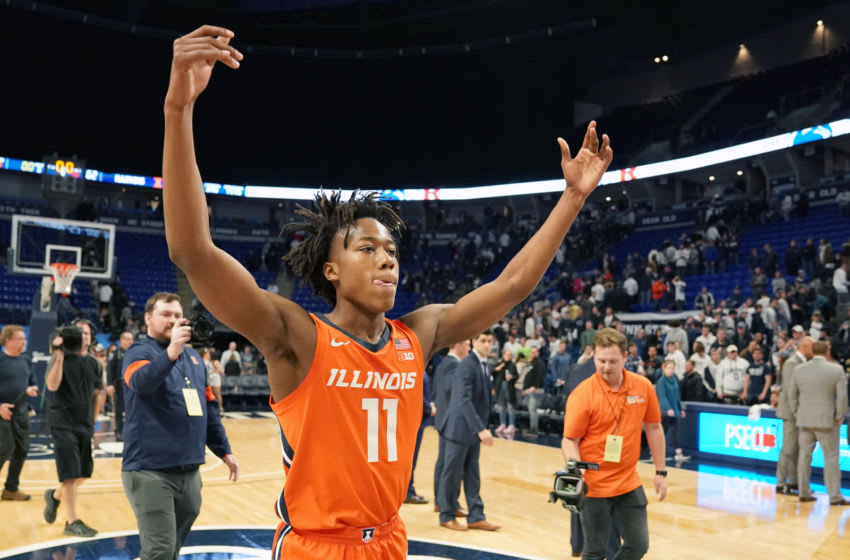 UNIVERSITY PARK, PA - FEBRUARY 18: Ayo Dosunmu #11 of the Illinois Fighting Illini celebrates a win after a college basketball game against the Penn State Nittany Lions at the Bryce Jordan Center on February 18, 2020 in University Park, Pennsylvania. (Photo by Mitchell Layton/Getty Images)