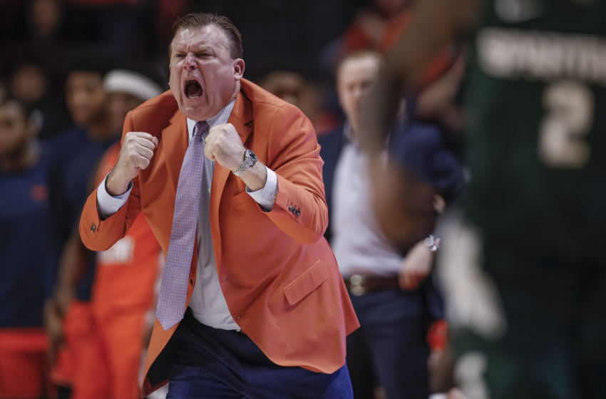 CHAMPAIGN, IL - FEBRUARY 11: Head coach Brad Underwood of the Illinois Fighting Illini is seen during the game against the Michigan State Spartans at State Farm Center on February 11, 2020 in Champaign, Illinois. (Photo by Michael Hickey/Getty Images)