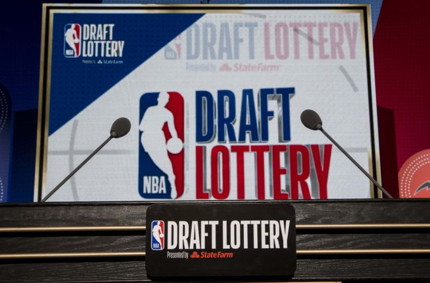 May 15, 2018; Chicago, IL, USA; The podium with logos is seen prior to the 2018 NBA Draft Lottery at the Palmer House Hilton. Mandatory Credit: Patrick Gorski-USA TODAY Sports