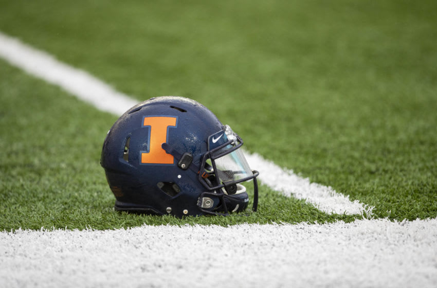 Oct 5, 2019; Minneapolis, MN, USA; A general view of an Illinois Fighting Illini helmet before a game against the Minnesota Golden Gophers at TCF Bank Stadium. Mandatory Credit: Jesse Johnson-USA TODAY Sports
