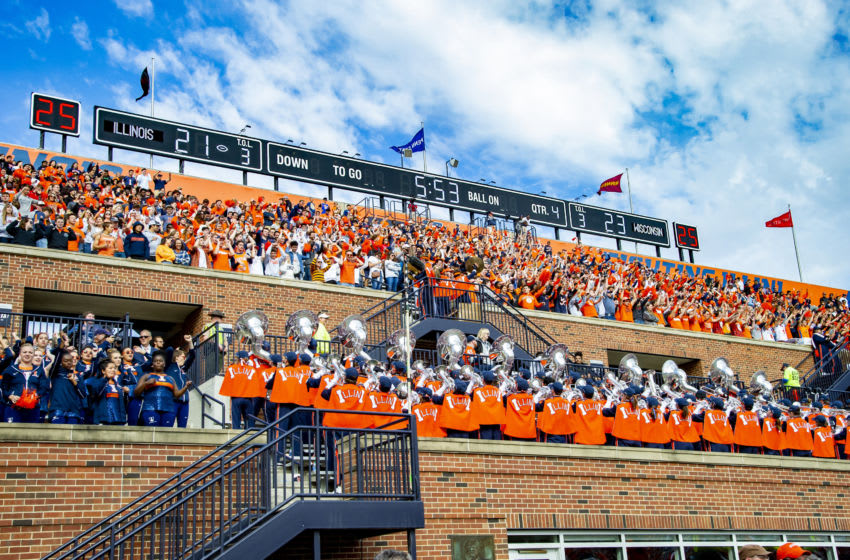Oct 19, 2019; Champaign, IL, USA; The Marching Illini and Illinois Fighting Illini student section celebrate a touchdown against the Wisconsin Badgers during the second half at Memorial Stadium. Mandatory Credit: Patrick Gorski-USA TODAY Sports