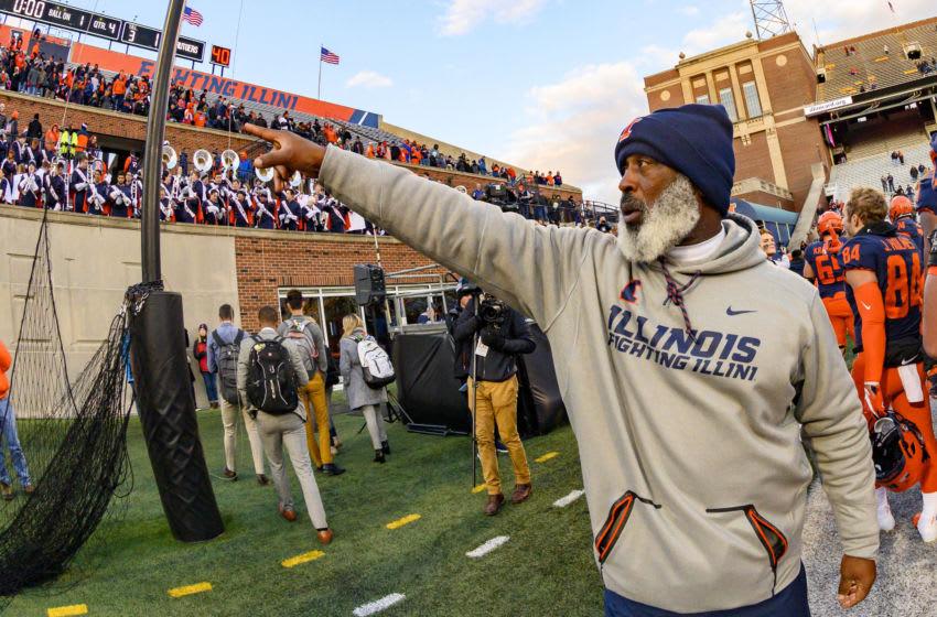 Nov 2, 2019; Champaign, IL, USA; Illinois Fighting Illini head coach Lovie Smith celebrates after defeating the Rutgers Scarlet Knights at Memorial Stadium. Mandatory Credit: Patrick Gorski-USA TODAY Sports
