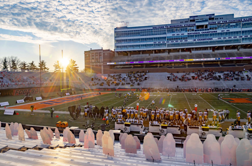 Dec 5, 2020; Champaign, Illinois, USA; A general view during the first half in a game between the Illinois Fighting Illini and the Iowa Hawkeyes at Memorial Stadium. Mandatory Credit: Patrick Gorski-USA TODAY Sports