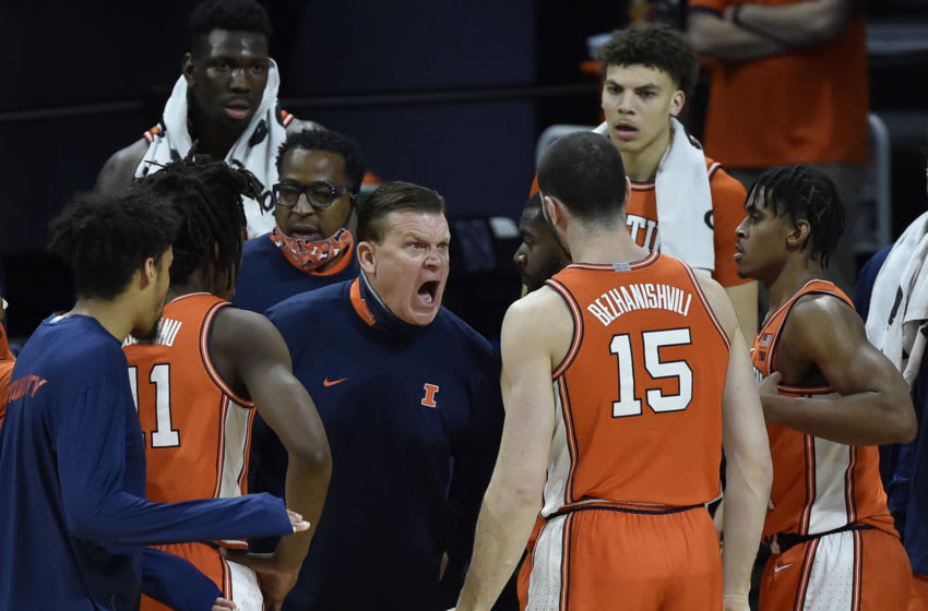 Jan 7, 2021; Evanston, Illinois, USA; Illinois Fighting Illini head coach Brad Underwood reacts during a time out in the first half against the Northwestern Wildcats at Welsh-Ryan Arena. Mandatory Credit: Quinn Harris-USA TODAY Sports