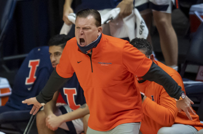 Jan 10, 2021; Champaign, Illinois, USA; Illinois Fighting Illini head coach Brad Underwood directs his team during the first half against the Maryland Terrapins at the State Farm Center. Mandatory Credit: Patrick Gorski-USA TODAY Sports