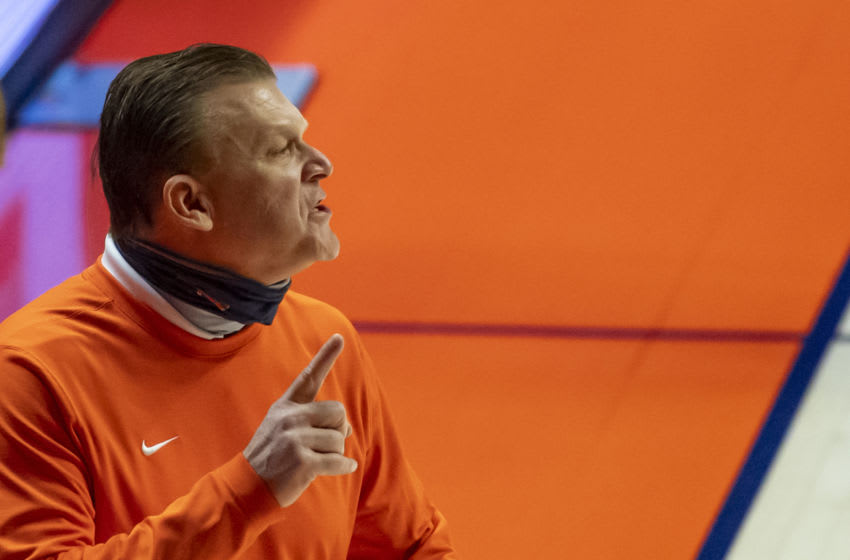 Jan 19, 2021; Champaign, Illinois, USA; Illinois Fighting Illini head coach Brad Underwood gestures during the second half against the Penn State Nittany Lions at the State Farm Center. Mandatory Credit: Patrick Gorski-USA TODAY Sports
