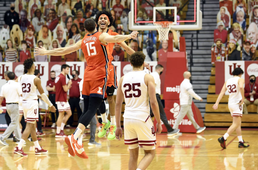 Feb 2, 2021; Bloomington, Indiana, USA; Illinois Fighting Illini guard Andre Curbelo (5) and forward Giorgi Bezhanishvili (15) celebrate on the court after defeating the Indiana Hoosiers at Simon Skjodt Assembly Hall. Mandatory Credit: Marc Lebryk-USA TODAY Sports