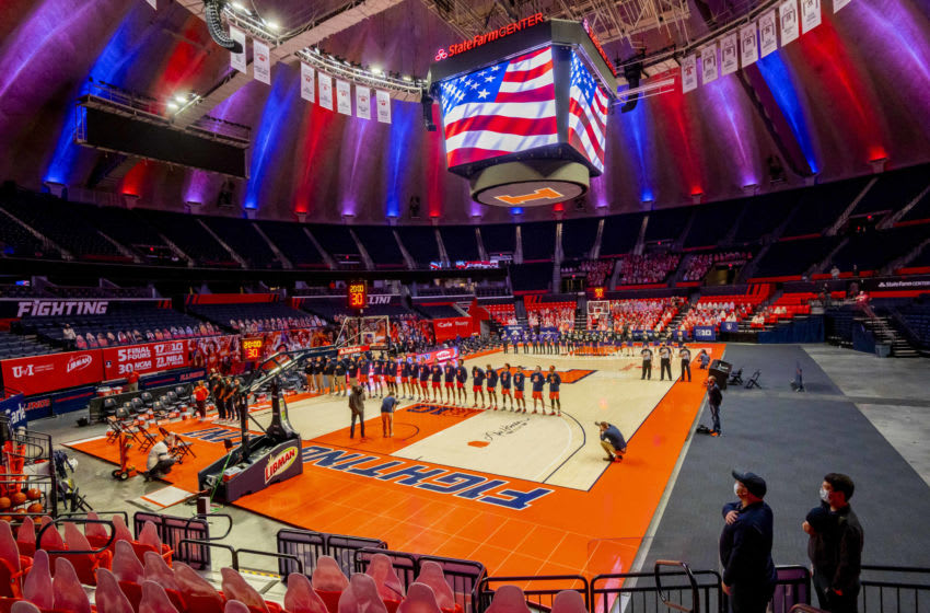 Feb 16, 2021; Champaign, Illinois, USA; The national anthem is played before a game between the Illinois Fighting Illini and the Northwestern Wildcats at the State Farm Center. Mandatory Credit: Patrick Gorski-USA TODAY Sports