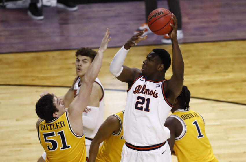 Mar 19, 2021; Indianapolis, Indiana, USA; Illinois Fighting Illini center Kofi Cockburn (21) shoots against Drexel during the first round of the 2021 NCAA Tournament at Indiana Farmers Coliseum. Mandatory Credit: Aaron Doster-USA TODAY Sports