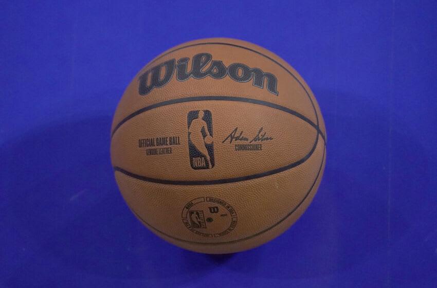 Jun 24, 2021; Chicago, Illinois, USA; A detail shot of the new NBA basketball ball during the NBA Draft Combine at Wintrust Arena.Mandatory Credit: David Banks-USA TODAY Sports