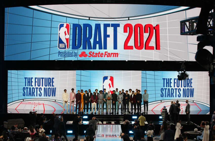 Jul 29, 2021; Brooklyn, New York, USA; NBA commissioner Adam Silver (middle) poses with the draftees before the 2021 NBA Draft at Barclays Center. Mandatory Credit: Brad Penner-USA TODAY Sports