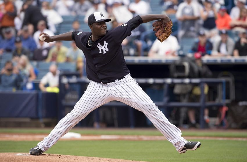 Mar 19, 2016; Tampa, FL, USA; New York Yankees starting pitcher Michael Pineda (35) pitches against the Atlanta Braves during the first inning at George M. Steinbrenner Field. Mandatory Credit: Jerome Miron-USA TODAY Sports