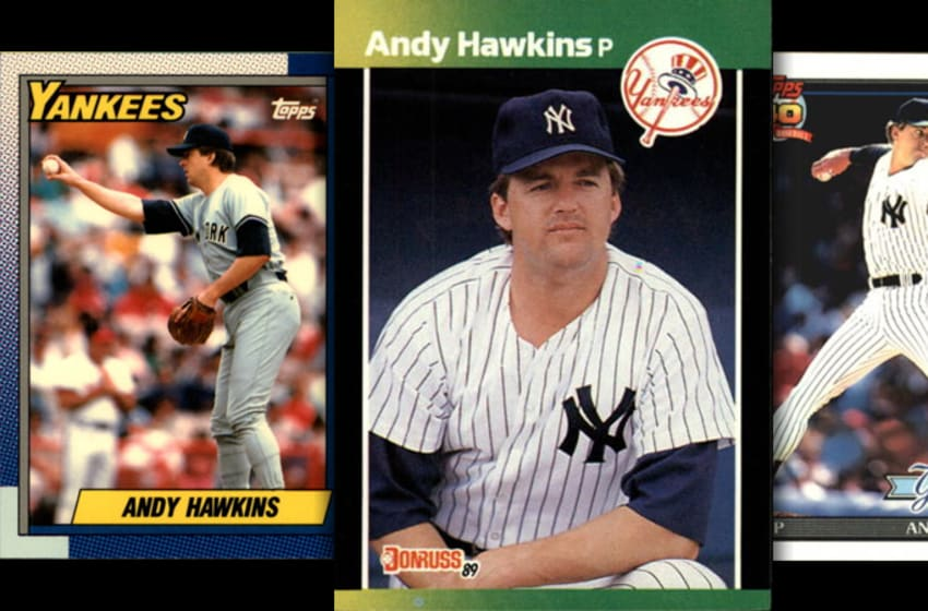 A montage of Andy Hawkins baseball cards from his time on the Yankees. (1990 Topps, 1989 Donruss, 1991 Topps)