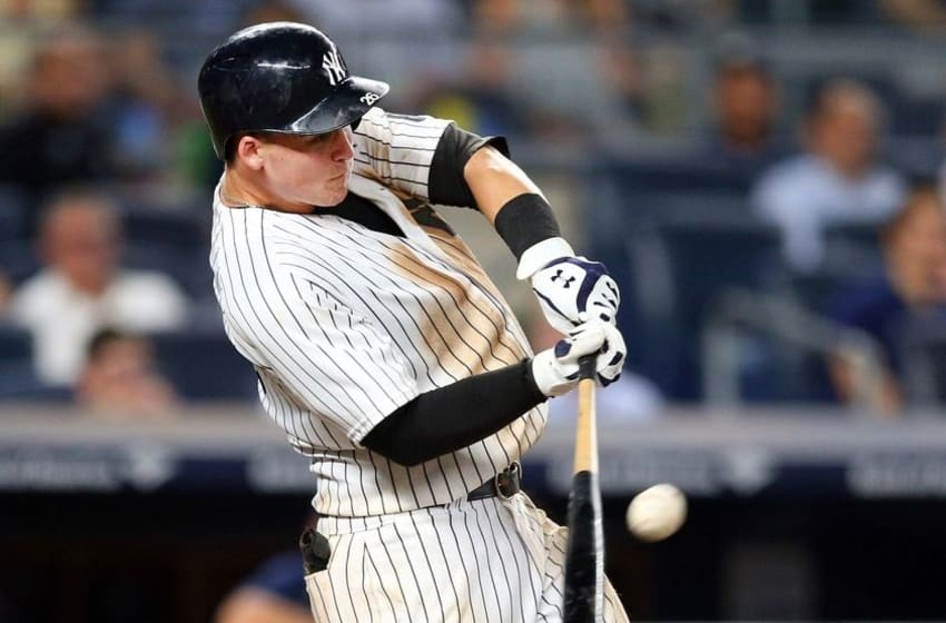 Sep 8, 2016; Bronx, NY, USA; New York Yankees first baseman Tyler Austin (26) hits a walk off home run against the Tampa Bay Rays during the ninth inning at Yankee Stadium. Mandatory Credit: Brad Penner-USA TODAY Sports