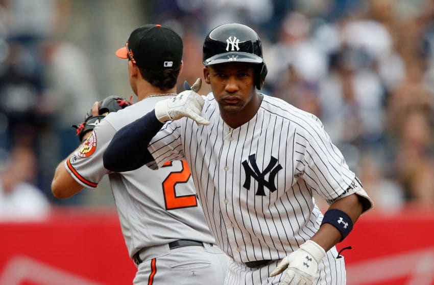 NEW YORK, NY - SEPTEMBER 23: Miguel Andujar #41 of the New York Yankees reacts after his third inning double against the Baltimore Orioles at Yankee Stadium on September 23, 2018 in the Bronx borough of New York City. (Photo by Jim McIsaac/Getty Images)