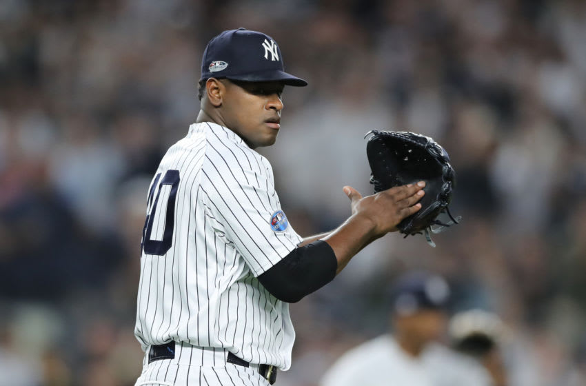 NEW YORK, NEW YORK - OCTOBER 03: Luis Severino #40 of the New York Yankees looks on against the Oakland Athletics during the first inning in the American League Wild Card Game at Yankee Stadium on October 03, 2018 in the Bronx borough of New York City. (Photo by Elsa/Getty Images)