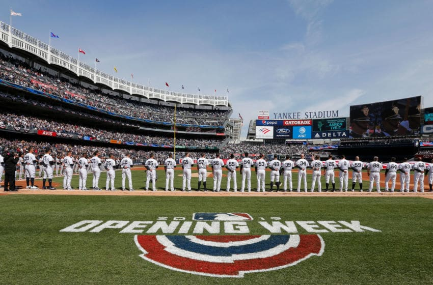 NEW YORK, NY - MARCH 28: (NEW YORK DAILIES OUT) The New York Yankees stand for the national anthem on Opening Day against the Baltimore Orioles at Yankee Stadium on March 28, 2019 in the Bronx borough of New York City. The Yankees defeated the Orioles 7-2. (Photo by Jim McIsaac/Getty Images)