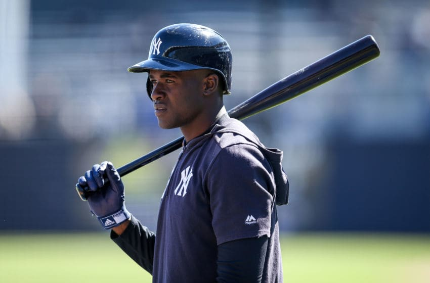 TAMPA, FLORIDA - MARCH 06: Estevan Floridal #92 of the New York Yankees takes batting practice before the Grapefruit League spring training game against the St. Louis Cardinals at Steinbrenner Field on March 06, 2019 in Tampa, Florida. (Photo by Dylan Buell/Getty Images)