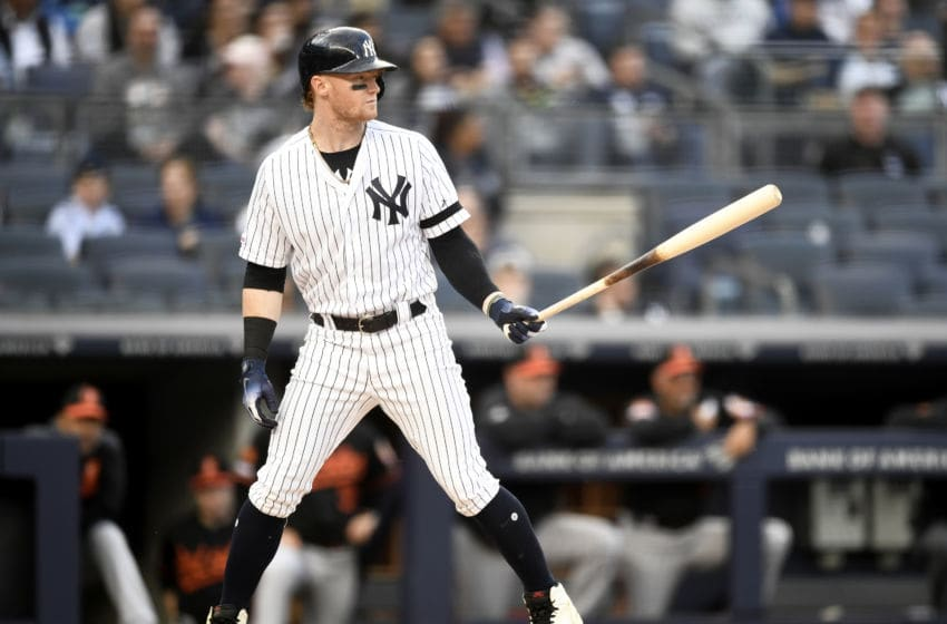 NEW YORK, NEW YORK - MAY 15: Clint Frazier #77 of the New York Yankees bats during the first inning of game two of a double header against the Baltimore Orioles at Yankee Stadium on May 15, 2019 in the Bronx borough of New York City. (Photo by Sarah Stier/Getty Images)