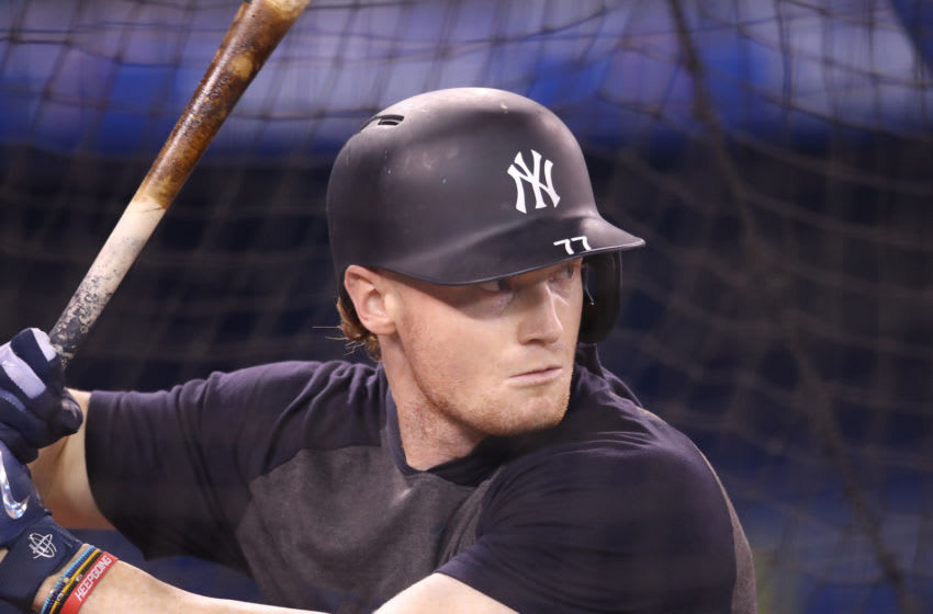 TORONTO, ON - JUNE 05: Clint Frazier #77 of the New York Yankees takes batting practice before the start of MLB game action against the Toronto Blue Jays at Rogers Centre on June 5, 2019 in Toronto, Canada. (Photo by Tom Szczerbowski/Getty Images)