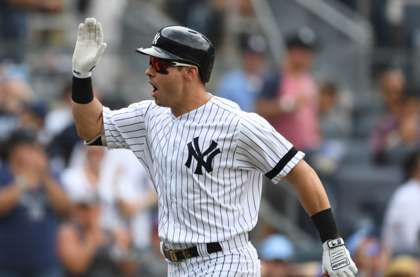 NEW YORK, NEW YORK - JULY 31: Mike Tauchman #39 of the New York Yankees reacts after hitting a two-run home run during the second inning of the game against the Arizona Diamondbacks at Yankee Stadium on July 31, 2019 in the Bronx borough of New York City. (Photo by Sarah Stier/Getty Images)