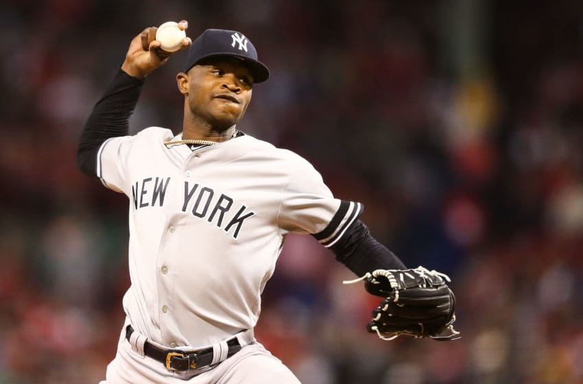 BOSTON, MA - SEPTEMBER 06: Domingo German #55 of the New York Yankees pitch sin the first inning of a game against the Boston Red Sox at Fenway Park on September 6, 2019 in Boston, Massachusetts. (Photo by Adam Glanzman/Getty Images)