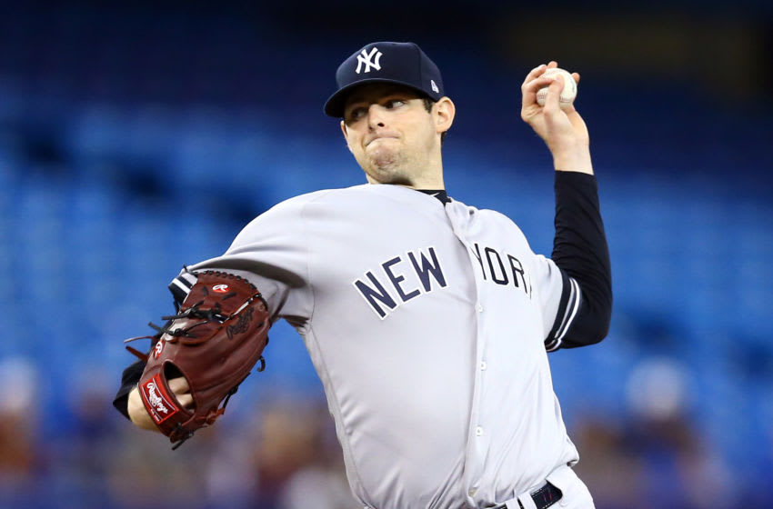 TORONTO, ON - SEPTEMBER 15: Jordan Montgomery #47 of the New York Yankees delivers a pitch in the second inning during a MLB game against the Toronto Blue Jays at Rogers Centre on September 15, 2019 in Toronto, Canada. (Photo by Vaughn Ridley/Getty Images)