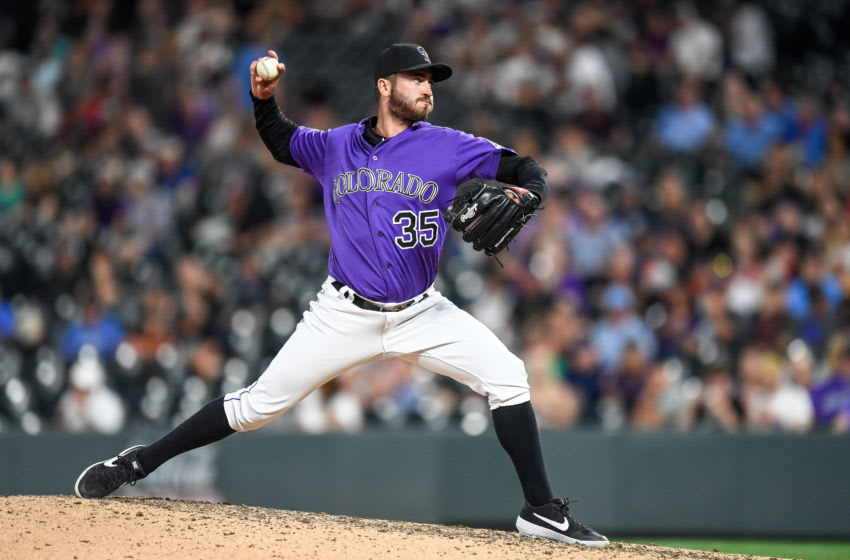 DENVER, CO - AUGUST 13: Chad Bettis #35 of the Colorado Rockies pitches against the Arizona Diamondbacks at Coors Field on August 13, 2019 in Denver, Colorado. (Photo by Dustin Bradford/Getty Images)