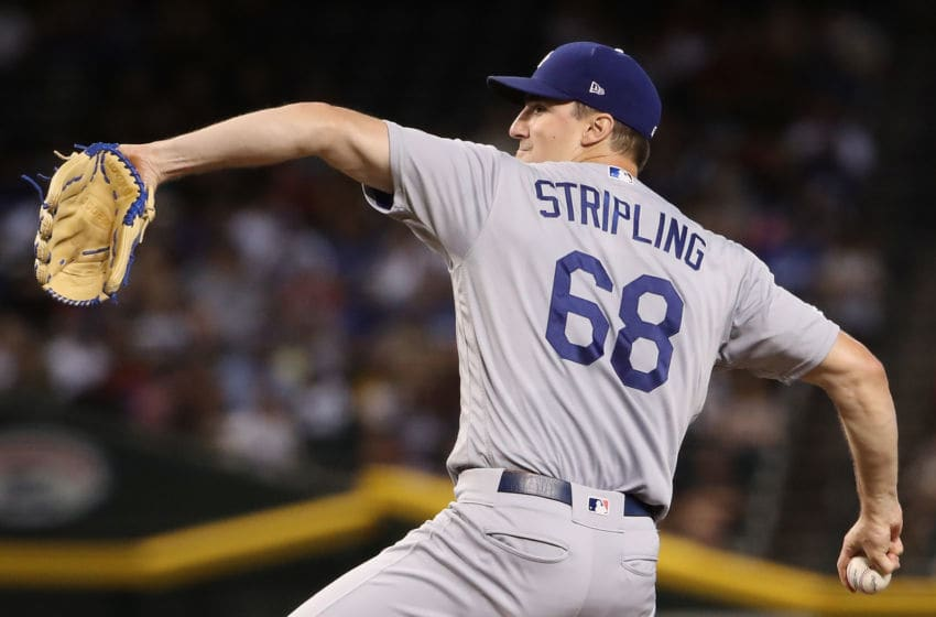PHOENIX, ARIZONA - SEPTEMBER 01: Starting pitcher Ross Stripling #68 of the Los Angeles Dodgers pitches against the Arizona Diamondbacks during the first inning of the MLB game at Chase Field on September 01, 2019 in Phoenix, Arizona. The Dodgers defeated the Diamondbacks 4-3. (Photo by Christian Petersen/Getty Images)