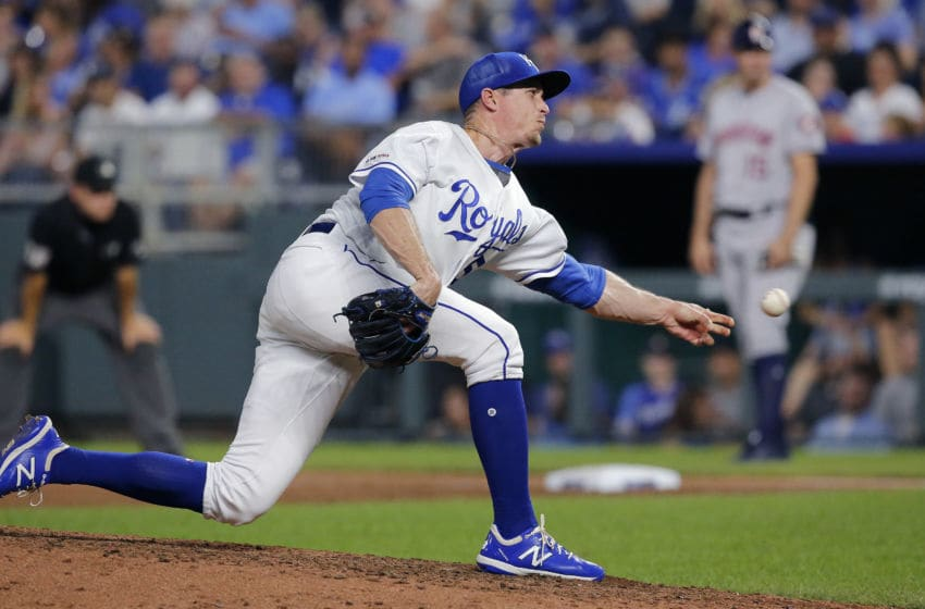 KANSAS CITY, MISSOURI - SEPTEMBER 14: Tim Hill #54 of the Kansas City Royals pitches in the sixth inning against the Houston Astros at Kauffman Stadium on September 14, 2019 in Kansas City, Missouri. (Photo by John Sleezer/Getty Images)