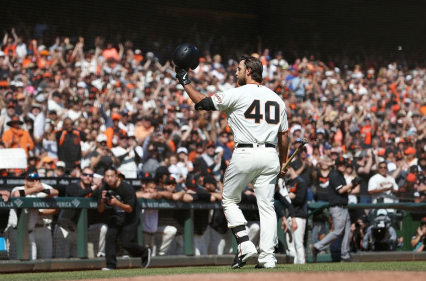 SAN FRANCISCO, CALIFORNIA - SEPTEMBER 29: Pinch hitter Madison Bumgarner #40 of the San Francisco Giants acknowledges the fans after batting in the bottom of the fifth inning against the Los Angeles Dodgers at Oracle Park on September 29, 2019 in San Francisco, California. (Photo by Lachlan Cunningham/Getty Images)