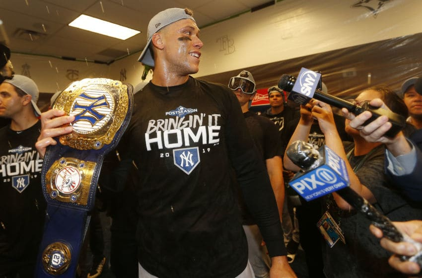 Aaron Judge of the New York Yankees celebrates during the 2019 MLB Playoffs.
