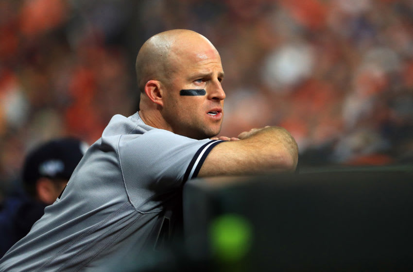 HOUSTON, TEXAS - OCTOBER 12: Brett Gardner #11 of the New York Yankees looks on against the Houston Astros during the eighth inning in game one of the American League Championship Series at Minute Maid Park on October 12, 2019 in Houston, Texas. (Photo by Mike Ehrmann/Getty Images)