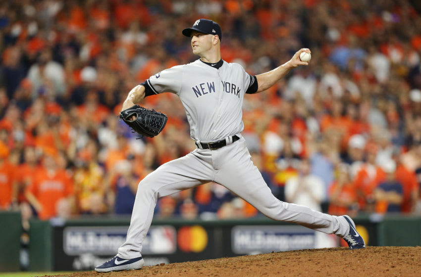 HOUSTON, TEXAS - OCTOBER 13: J.A. Happ #34 of the New York Yankees pitches during the tenth inning against the Houston Astros in game two of the American League Championship Series at Minute Maid Park on October 13, 2019 in Houston, Texas. (Photo by Bob Levey/Getty Images)