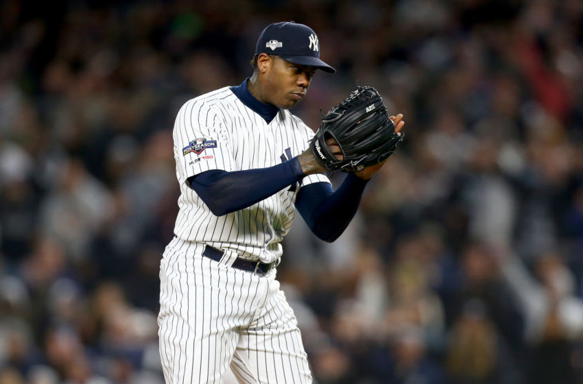 NEW YORK, NEW YORK - OCTOBER 18: Aroldis Chapman #54 of the New York Yankees looks on against the Houston Astros during the ninth inning in game five of the American League Championship Series at Yankee Stadium on October 18, 2019 in New York City. (Photo by Mike Stobe/Getty Images)