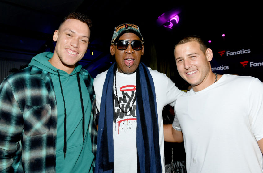 MIAMI BEACH, FLORIDA - FEBRUARY 01: (L-R) Aaron Judge, Dennis Rodman and Anthony Rizzo attend Michael Rubin's Fanatics Super Bowl Party at Loews Miami Beach Hotel on February 01, 2020 in Miami Beach, Florida. (Photo by Mike Coppola/Getty Images for Fanatics)