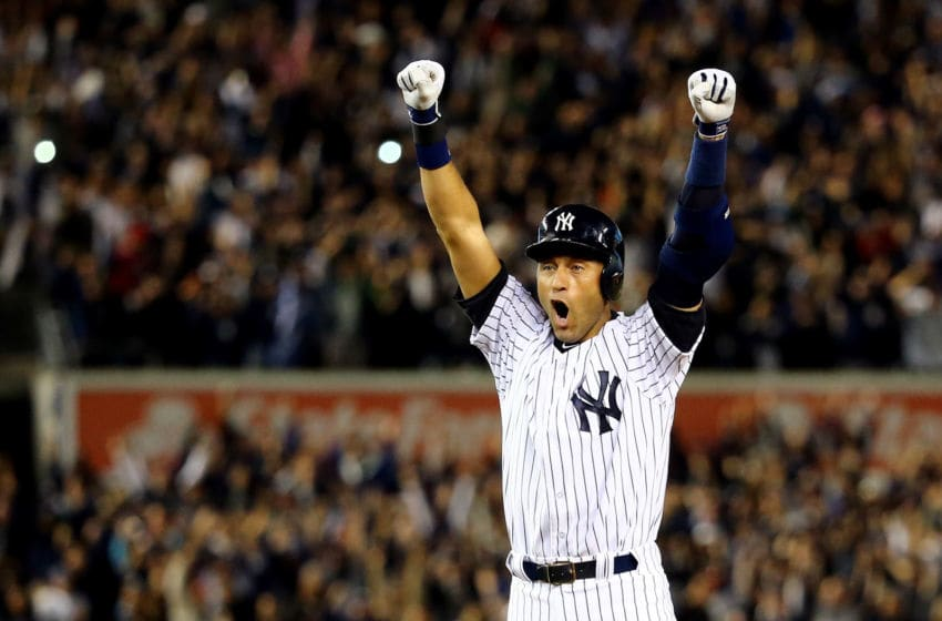 NEW YORK, NY - SEPTEMBER 25: Derek Jeter #2 of the New York Yankees celebrates after a game winning RBI hit in the ninth inning against the Baltimore Orioles in his last game ever at Yankee Stadium on September 25, 2014 in the Bronx borough of New York City. (Photo by Al Bello/Getty Images)