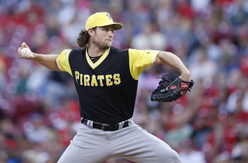 CINCINNATI, OH - AUGUST 26: Gerrit Cole #45 of the Pittsburgh Pirates pitches in the second inning of a game against the Cincinnati Reds at Great American Ball Park on August 26, 2017 in Cincinnati, Ohio. (Photo by Joe Robbins/Getty Images)