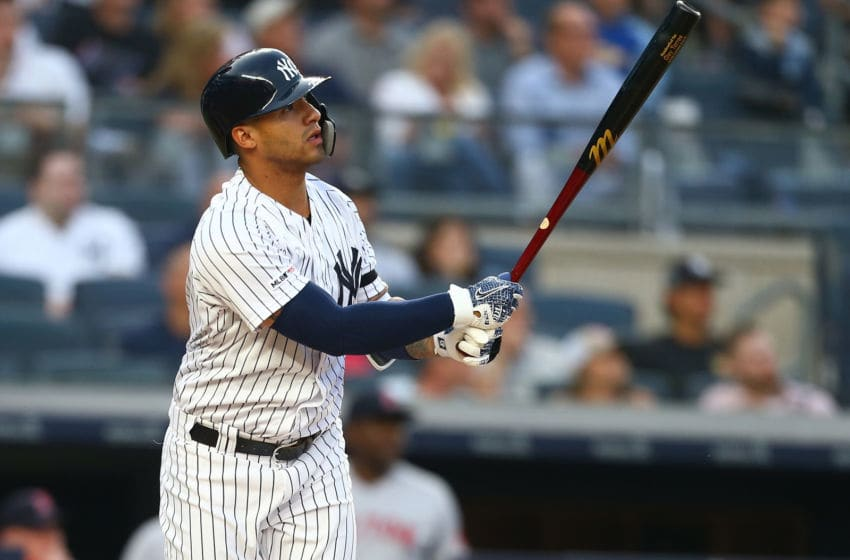 NEW YORK, NEW YORK - JUNE 01: Gleyber Torres #25 of the New York Yankees in action against the Boston Red Sox at Yankee Stadium on June 01, 2019 in New York City. New York Yankees defeated the Boston Red Sox 5-3. (Photo by Mike Stobe/Getty Images)
