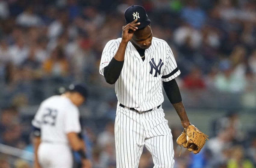 NEW YORK, NEW YORK - JUNE 01: Domingo German #55 of the New York Yankees reacts in the fourth inning against the Boston Red Sox at Yankee Stadium on June 01, 2019 in New York City. (Photo by Mike Stobe/Getty Images)