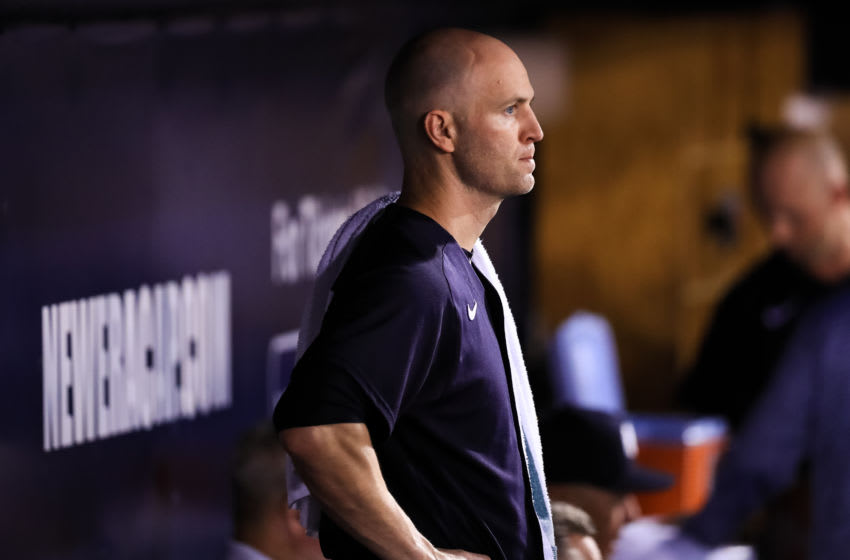 TAMPA, FL - MARCH 4: J.A. Happ #33 of the New York Yankees looks on from the dugout during a spring training game against the Philadelphia Phillies at Steinbrenner Field on March 4, 2020 in Tampa, Florida. (Photo by Carmen Mandato/Getty Images)
