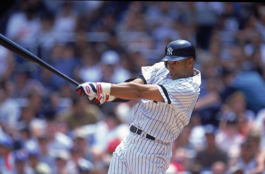 David Justice #28 of the New York Yankees (Mandatory Credit: Jamie Squire /Allsport)