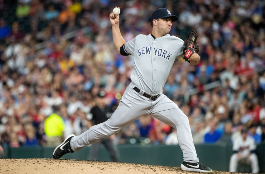 MINNEAPOLIS, MN - JULY 23: David Hale #75 of the New York Yankees pitches against the Minnesota Twins on July 23, 2019 at the Target Field in Minneapolis, Minnesota. The Yankees defeated the Twins 14-12. (Photo by Brace Hemmelgarn/Minnesota Twins/Getty Images)